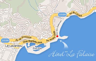 PlanAccs Htel La Falaise83 Le Lavandou dans le Var